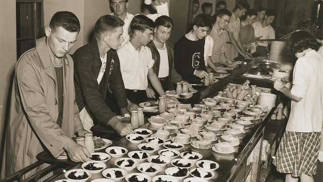 Student dining in the 1940s