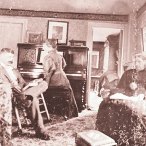 Bernon and Mary Helme with their mother, at home in Kingston in an undated photo