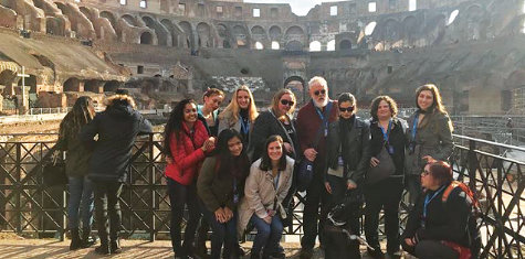 A group of URI students at the Colosseum in Rome