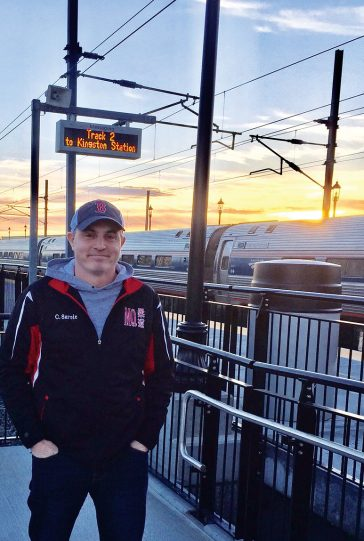 Christopher Savoie at the Kingston, Rhode Island, train station, where he begins his daily commute to Zapata in Cambridge, Massachusetts.