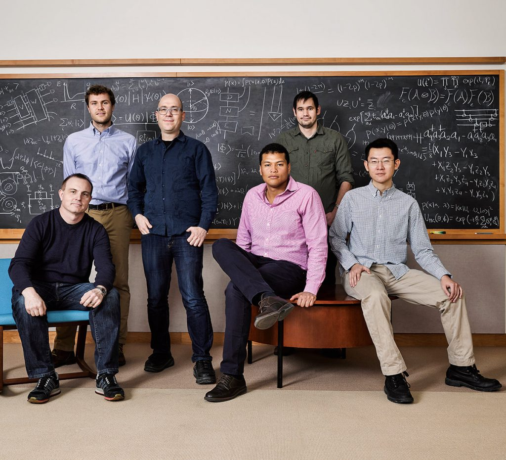 The founding team of Zapata Computing. Left to right: CEO Christopher Savoie, quantum scientist Peter Johnson, CSO Alán Aspuru-Guzik, and quantum scientists Jhonathan Romero Fontalvo, Jonathan Olson, and Yudong Cao.