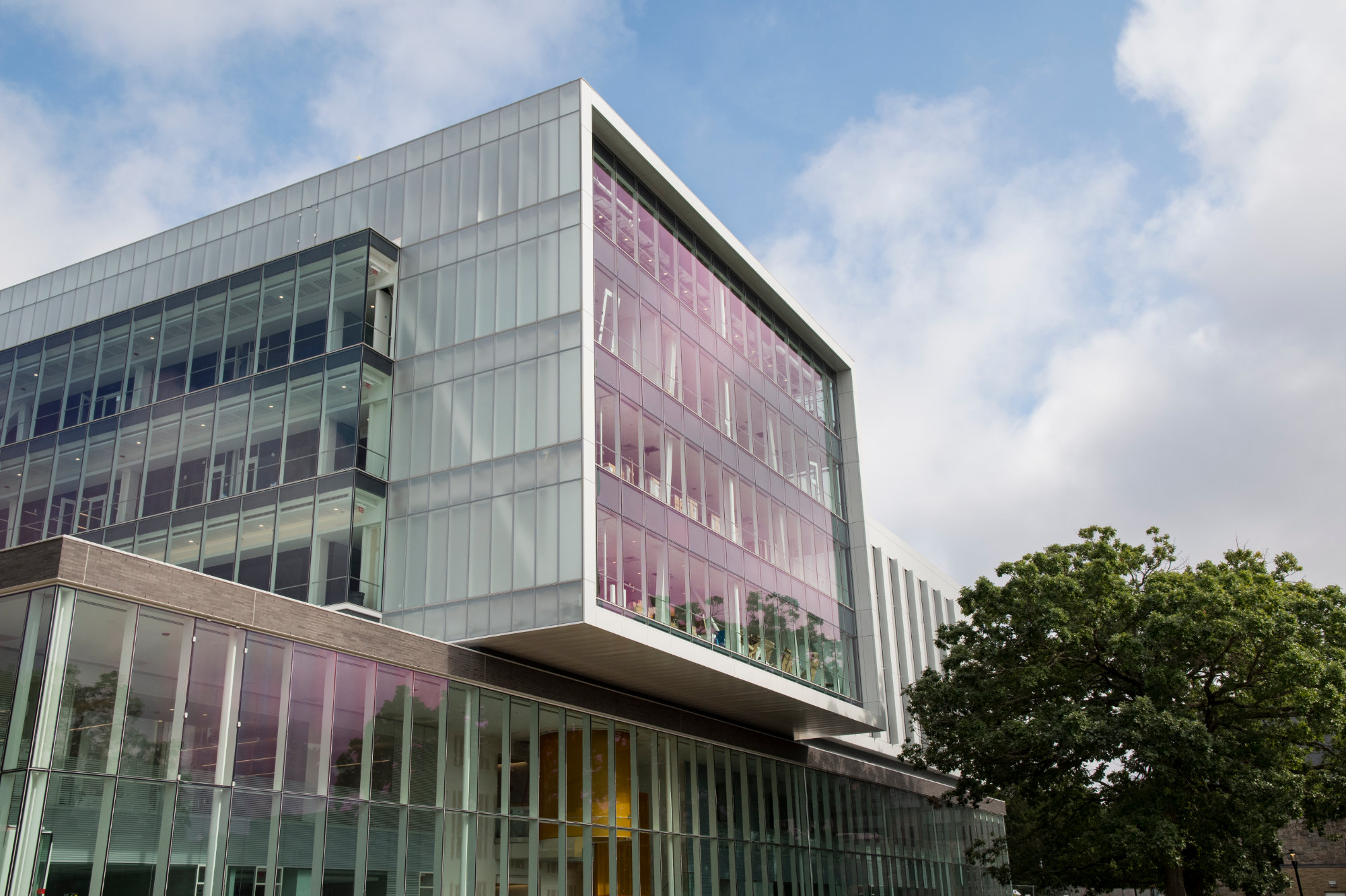 A view of the glass facade of the Fascitelli Center for Advanced Engineering