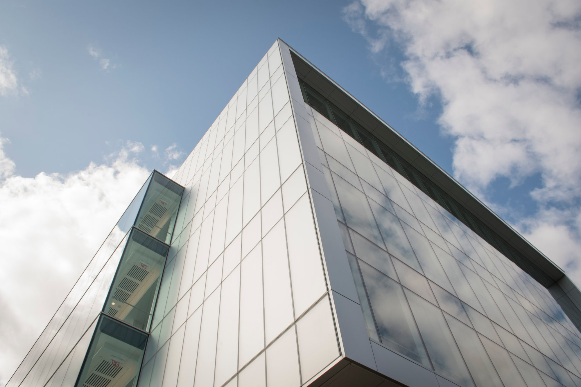 A diagonal view of the glass facade, Fascitelli Center for Advanced Engineering