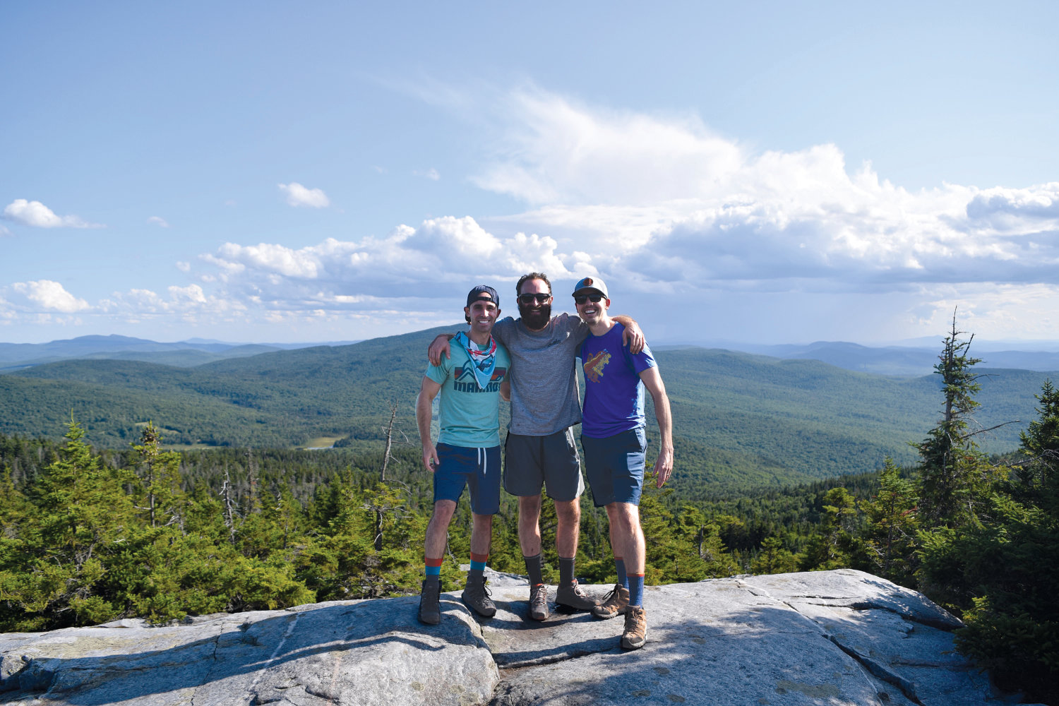 Matt Gallagher, John Cuoco, Nate Ruchames on Mount Cube in New Hampshire.