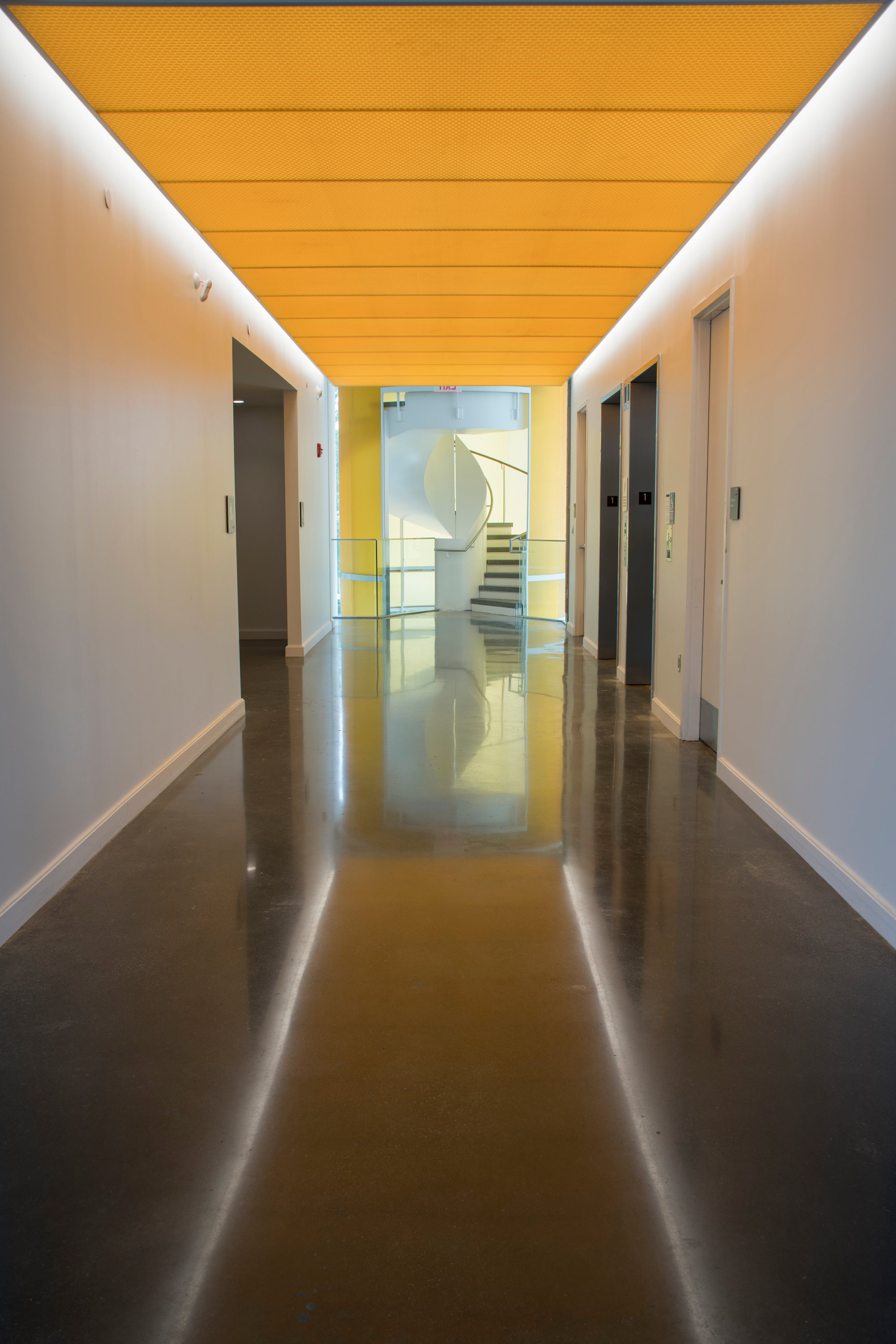 A view of an interior hallway in the Fascitelli Center for Advanced Engineering