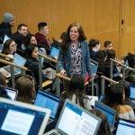 Jessica Adams teaching a large seminar class