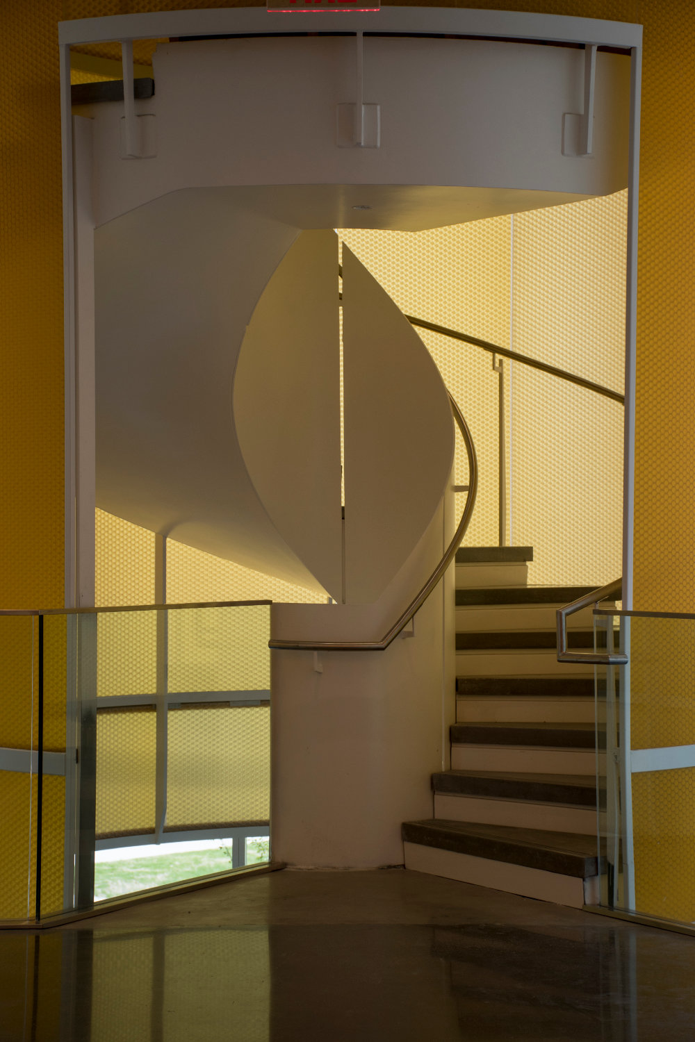 Spiral staircase in the Fascitelli Center for Advanced Engineering