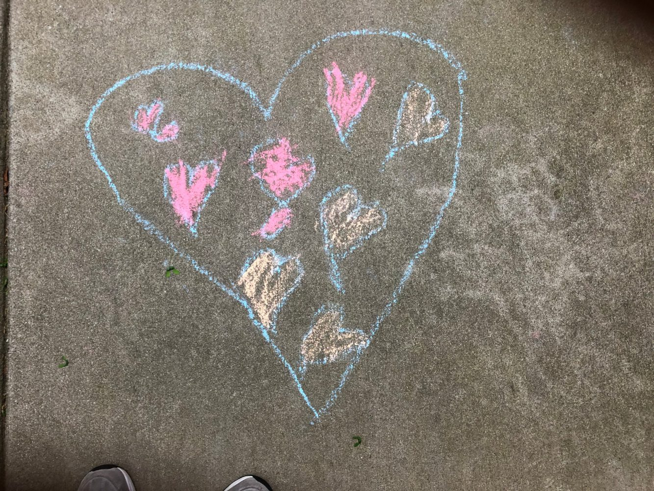 A chalk drawing of a heart