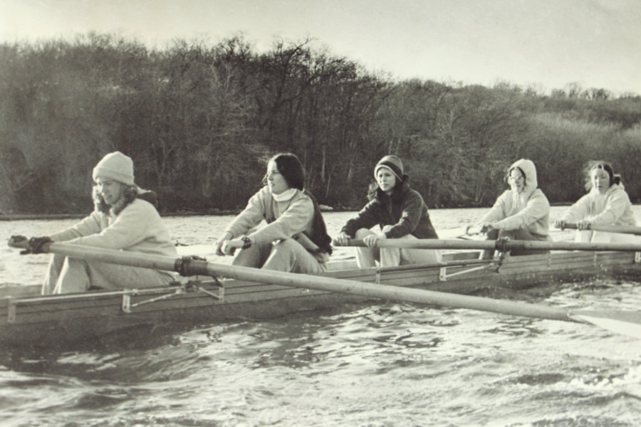 URI rowers practicing on Narrow River in the early 70's