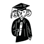 A cartoon of Rhody wearing a graduation cap and gown