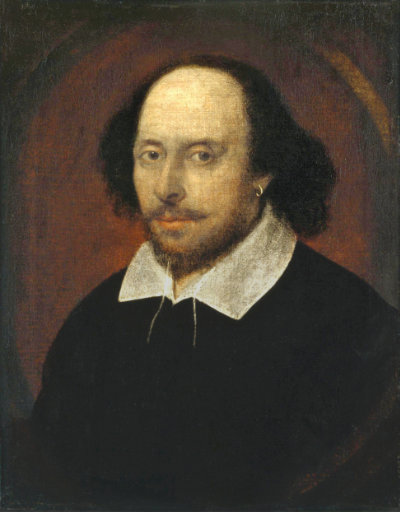 A painted portrait of William Shakespeare