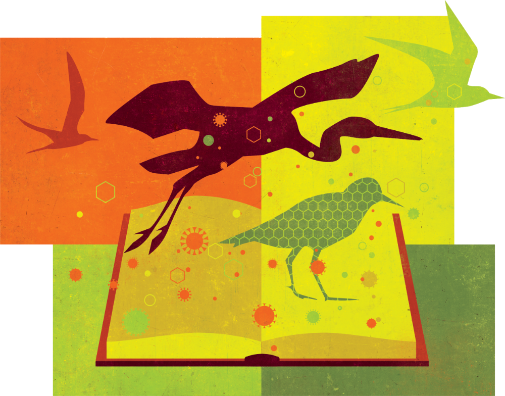 A graphic with stylized depictions of animals, a book and virus motifs