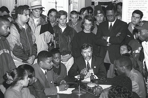 Former University president Robert Carothers meeting with a group of Black student leaders