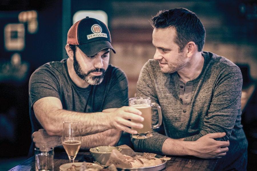Adam and Bryan Seated at Bar