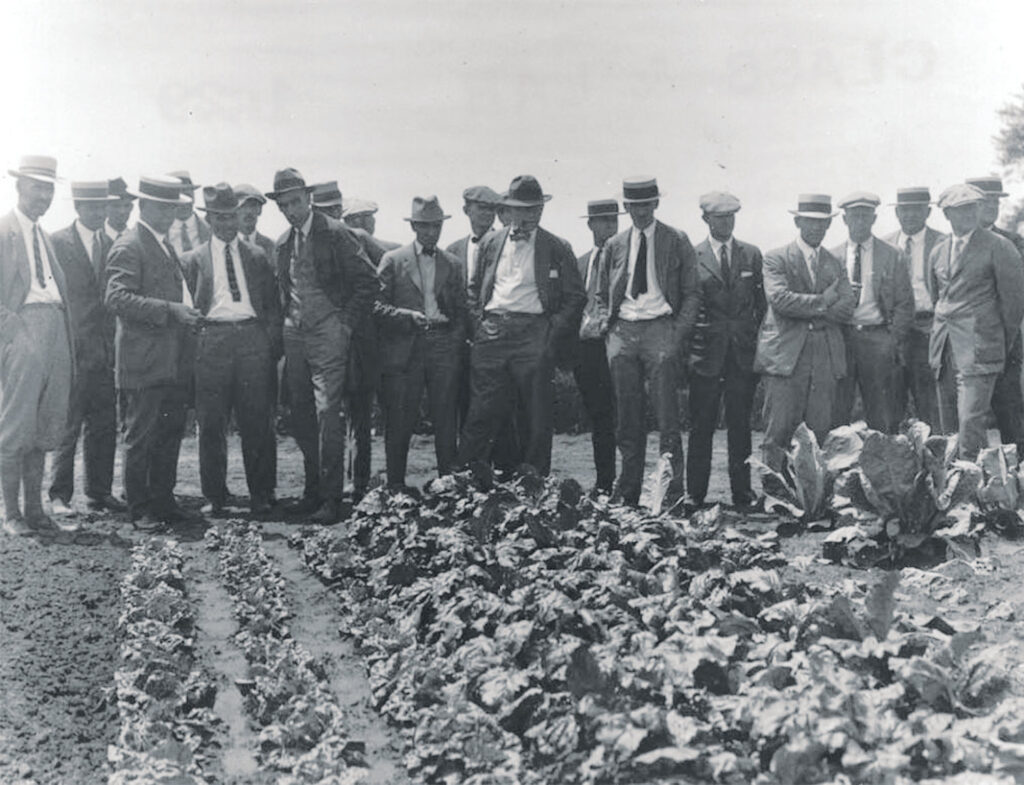 A group of people wearing suits and hats examining a garden