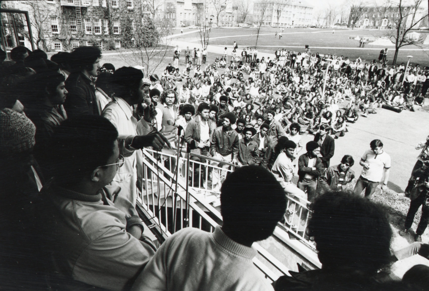 A group of Black Activists giving an address during a takeover of the Carlotti Administration Building in 1971