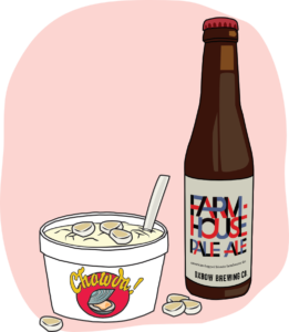Illustration of pale ale and chowder
