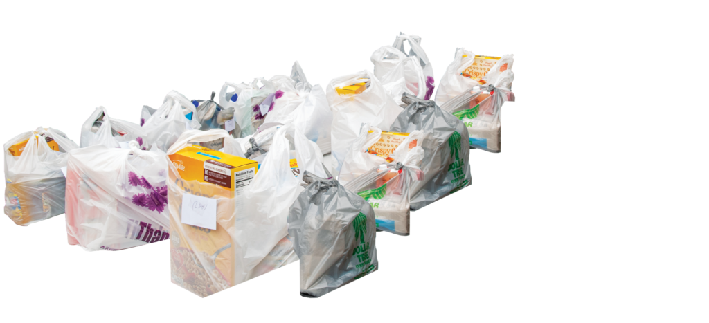 A collection of bagged donations