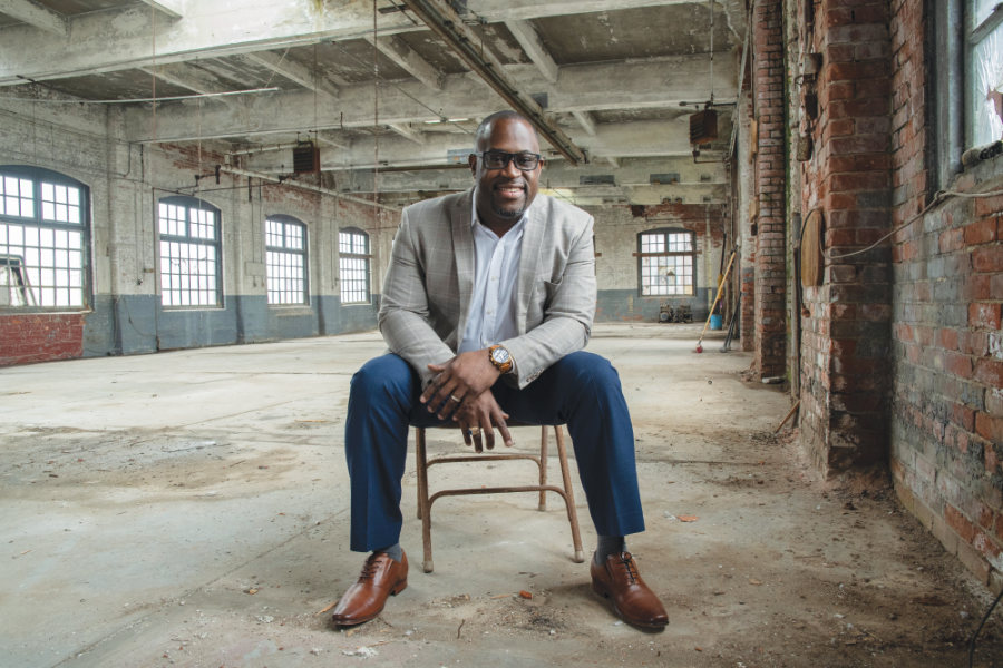 Lanre Ajakaiye inside the future location of his Community Center on Bough street in Olneyville.