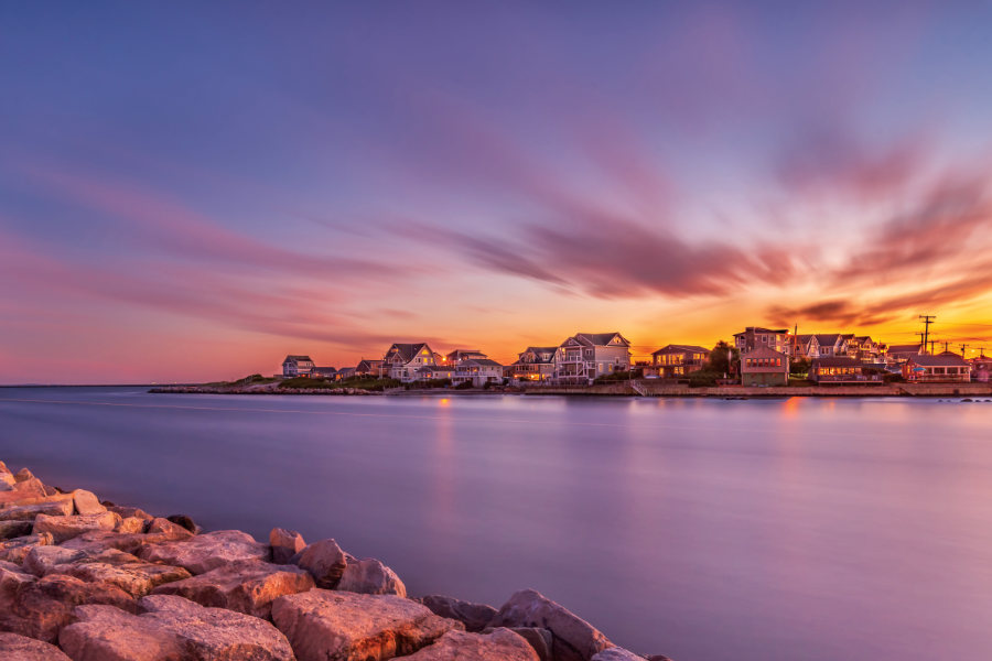 The fishing village of Galilee, in Narragansett, R.I. at sunset