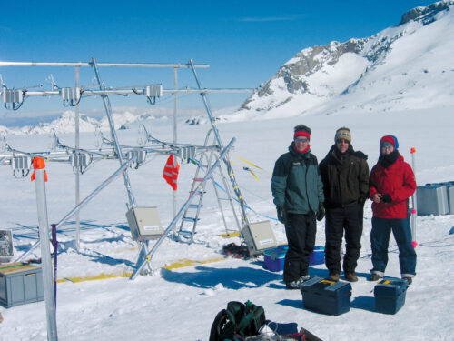 URI President Marc Parlange with two companions, standing on Plaine Morte Glacier in Switzerland in winter gear