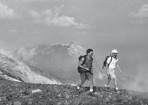 URI emeritus professor Steve Carey (right) and grad student Charles Mandeville visited the summit of Anak Krakatau in 1990.