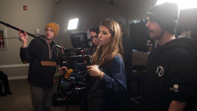 Griffin Alix '20, far right, works with, from left, boom operator Ryan Byrd, sound engineer Marion O'Sullivan, and director of photography Frankie Weston