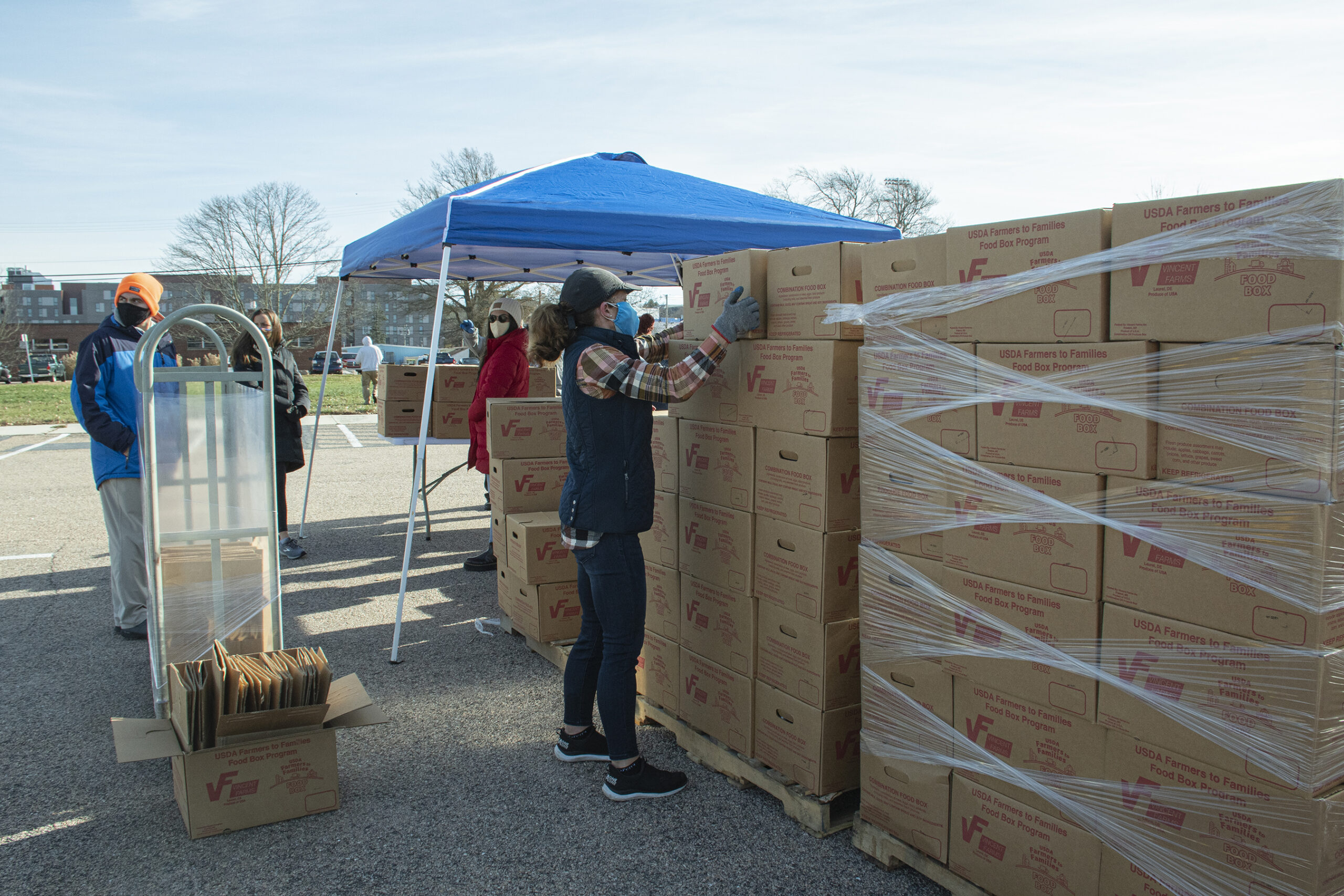 URI students and staff distribute USDA Farmers to Families food boxes this fall