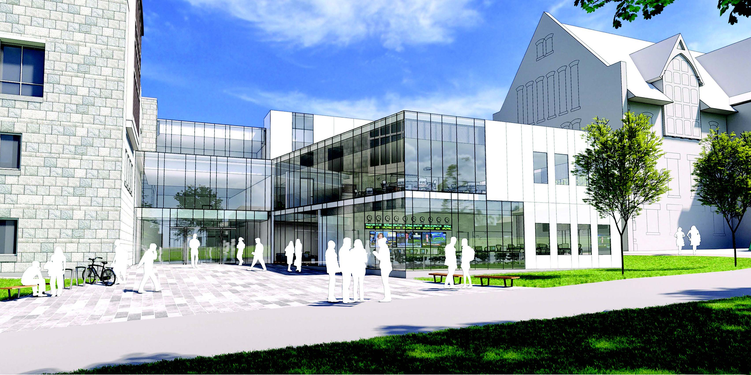 An artist's rendering of the future look of the front of Ballentine Hall.
