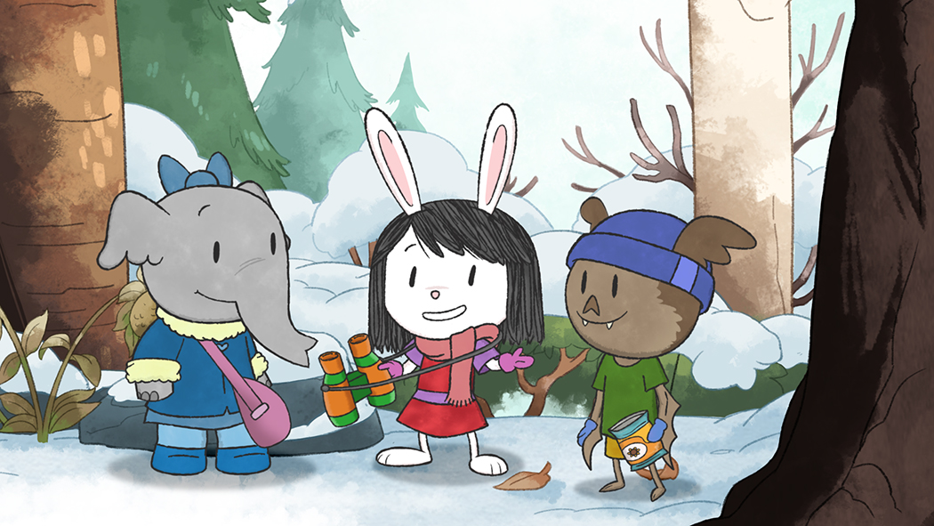 EXPLORING WITH FRIENDS: Elinor, a little rabbit and the main character in Elinor Wonders Why™, checks out a winter forest with her friends, Ari, a bat, and Olive, an elephant. The PBS Kids Show, Elinor Wonders Why™, airs locally on Rhode Island PBS.