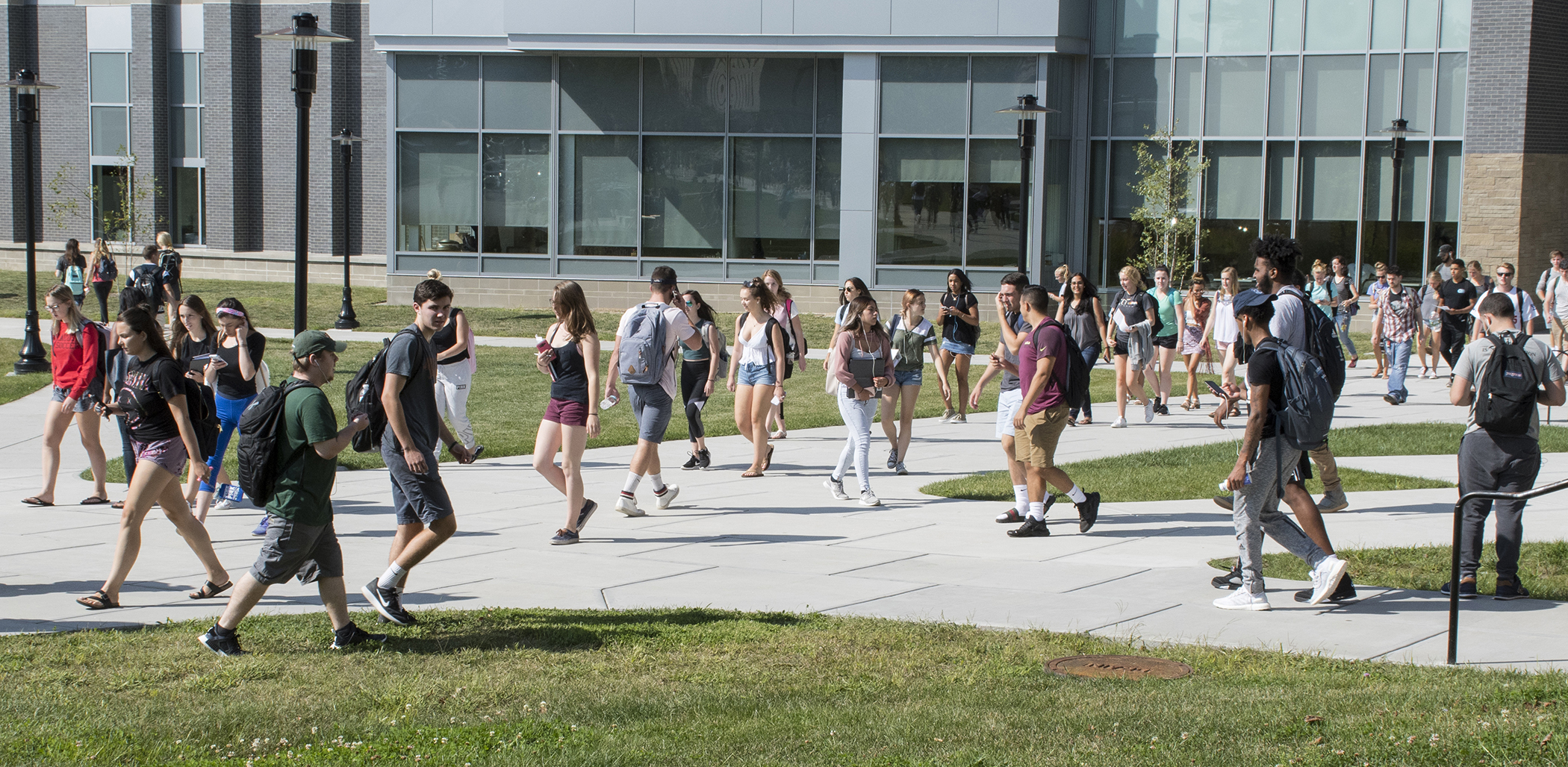 Students fill the walkways