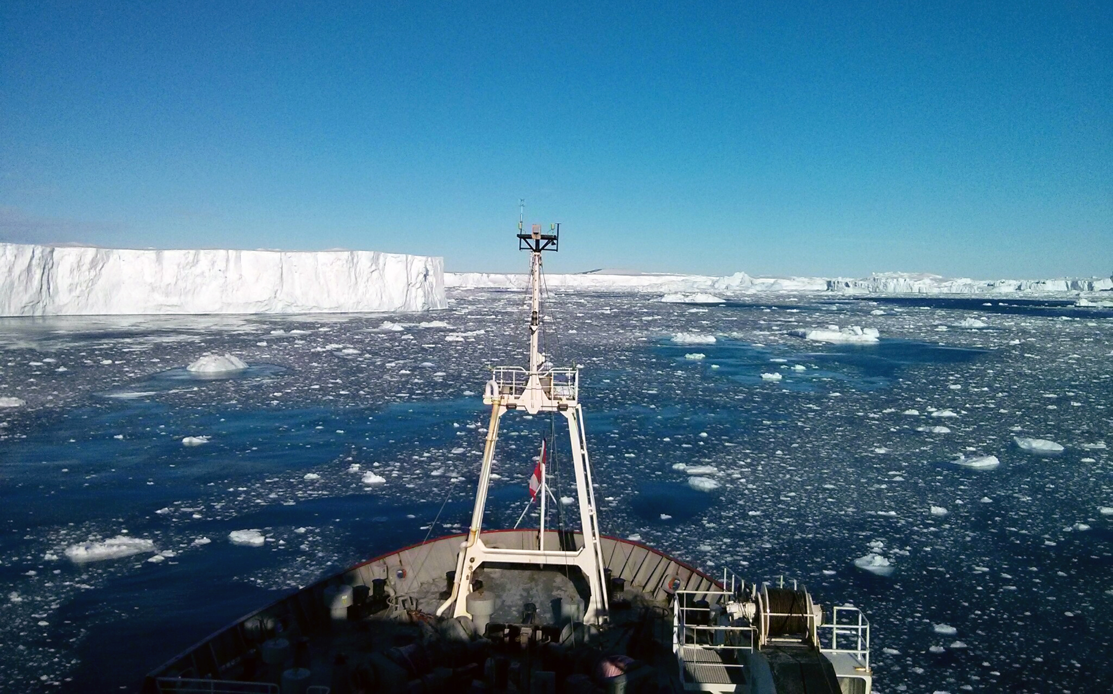 This view is from the bow of the icebreaker the RRS James Clark Ross on a 2014 scientific expedition, during which University of Rhode Island researcher and five other scientists discovered an active volcanic heat source beneath the Pine Island Glacier in Antarctica. (Photo courtesy of Brice Loose)