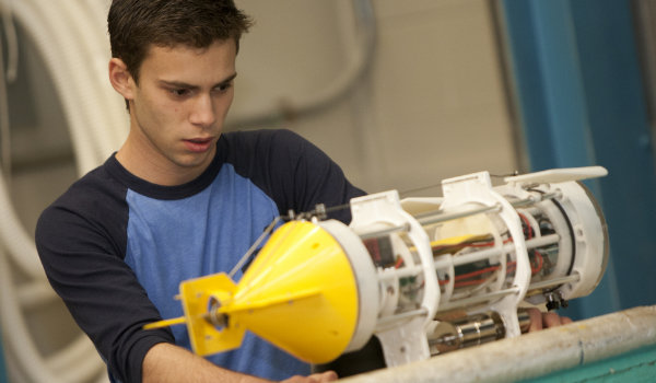 A student works on a submersible