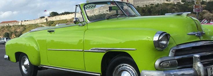 vintage green car in Cuba