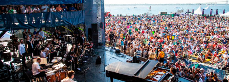 Musicians view of the Newport Jazz Festival crowd