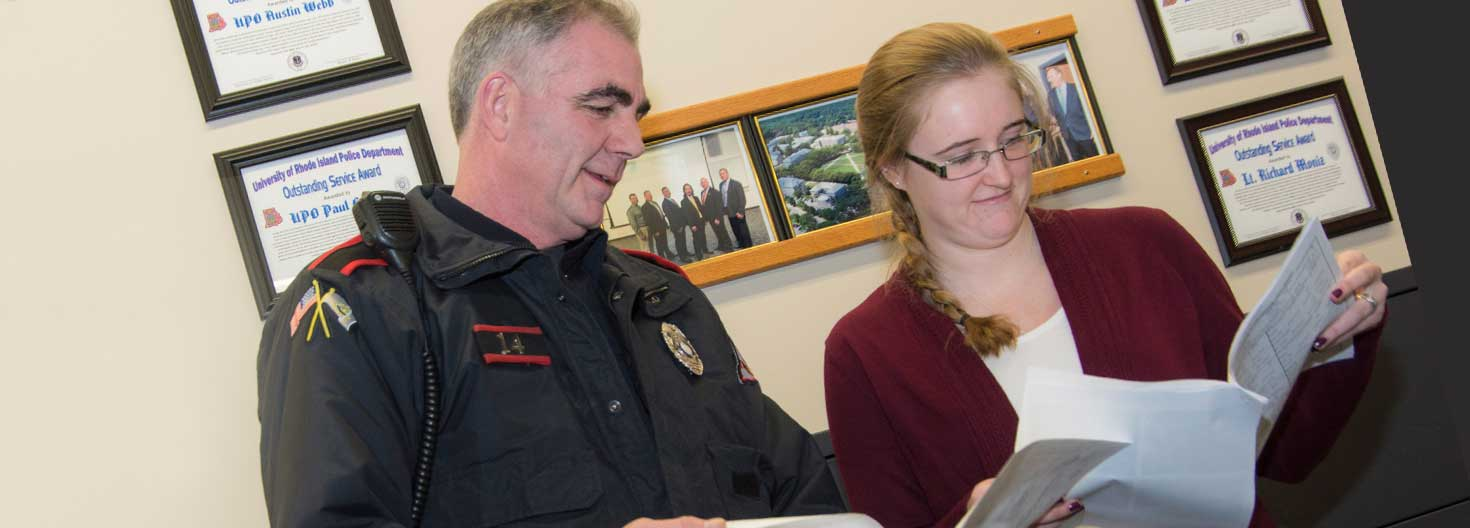 URI police officer working with criminal justice major