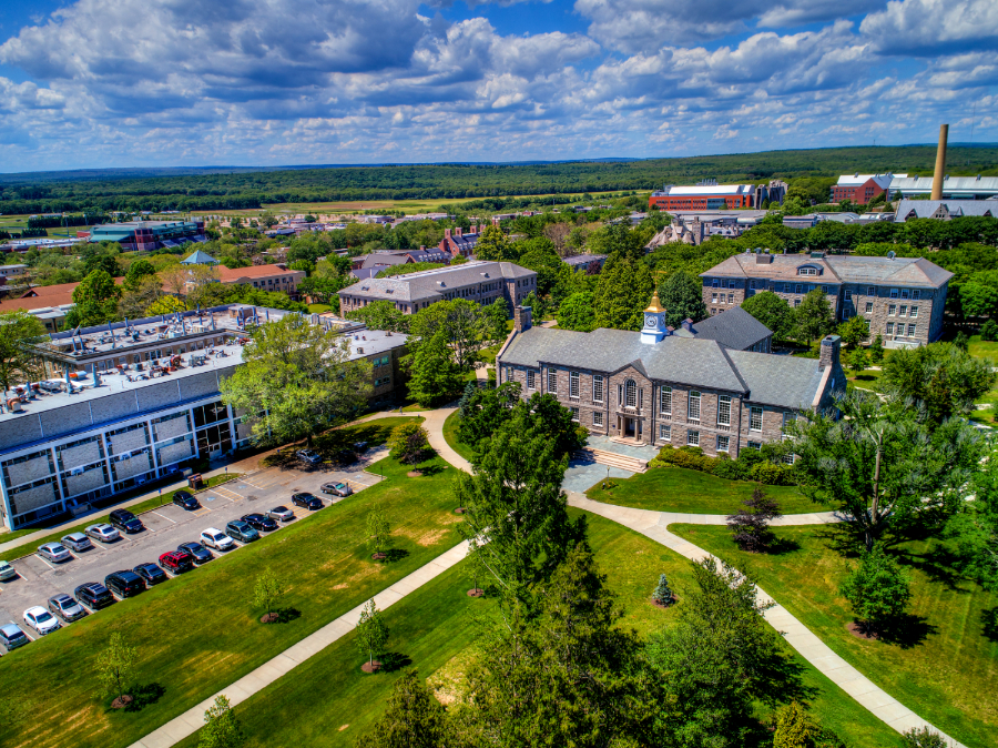 Green Hall photographed by a drone