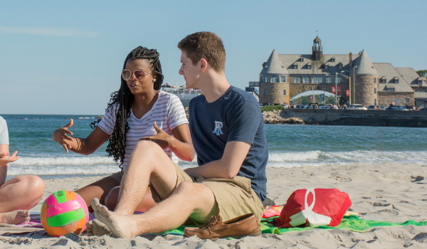 Students relaxing at nearby Narragansett beach, just ten minutes from our main campus in Kingston.