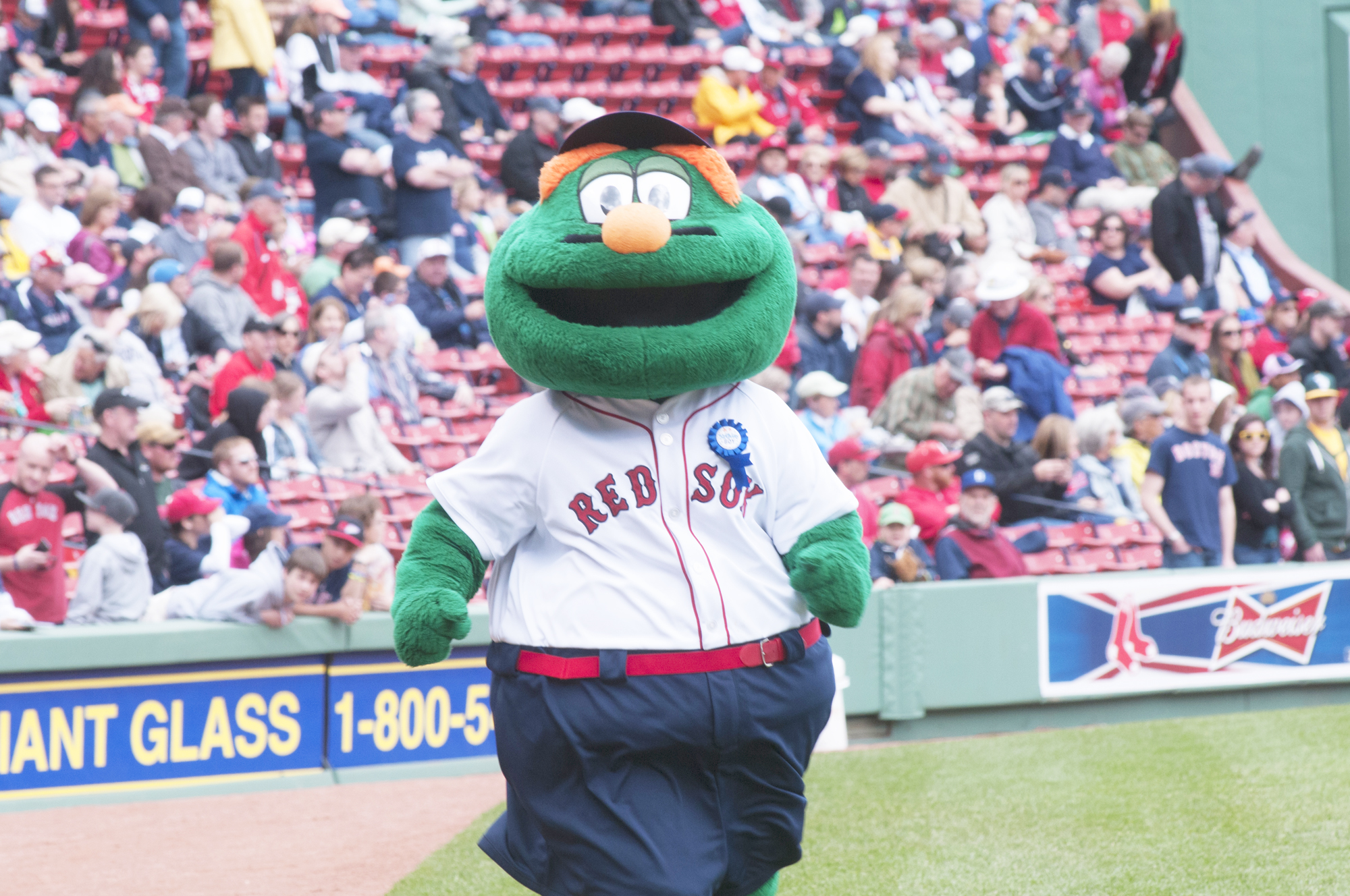 Wally the Green Monster mascot at Fenway Park