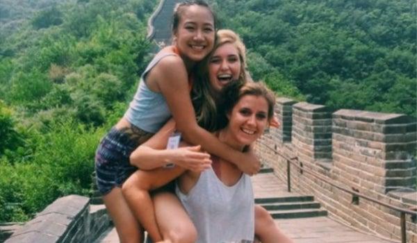 Students visiting the Great Wall of China