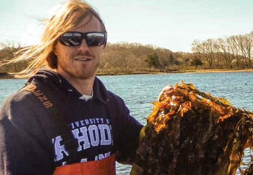 Austin Humphries creating a series of experiments around Narragansett Bay and the coastal salt ponds to assess where the best conditions are for growing kelp.