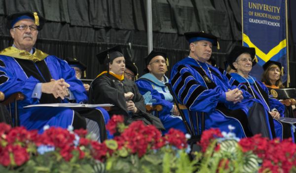 University of Rhode Island President, Dr. David D. Dooley and other leaders at the Graduate School Commencement ceremony.