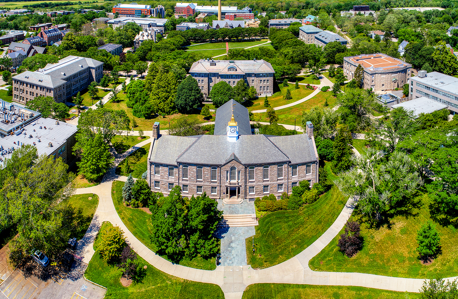 aerial view of Green Hall