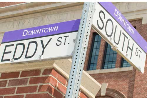 Street signs at the location of the Nursing Education Center in Providence