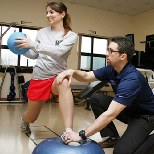 students in physical therapy lab