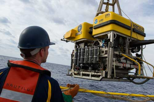 ROV Hercules is launched from the E/V Nautilus