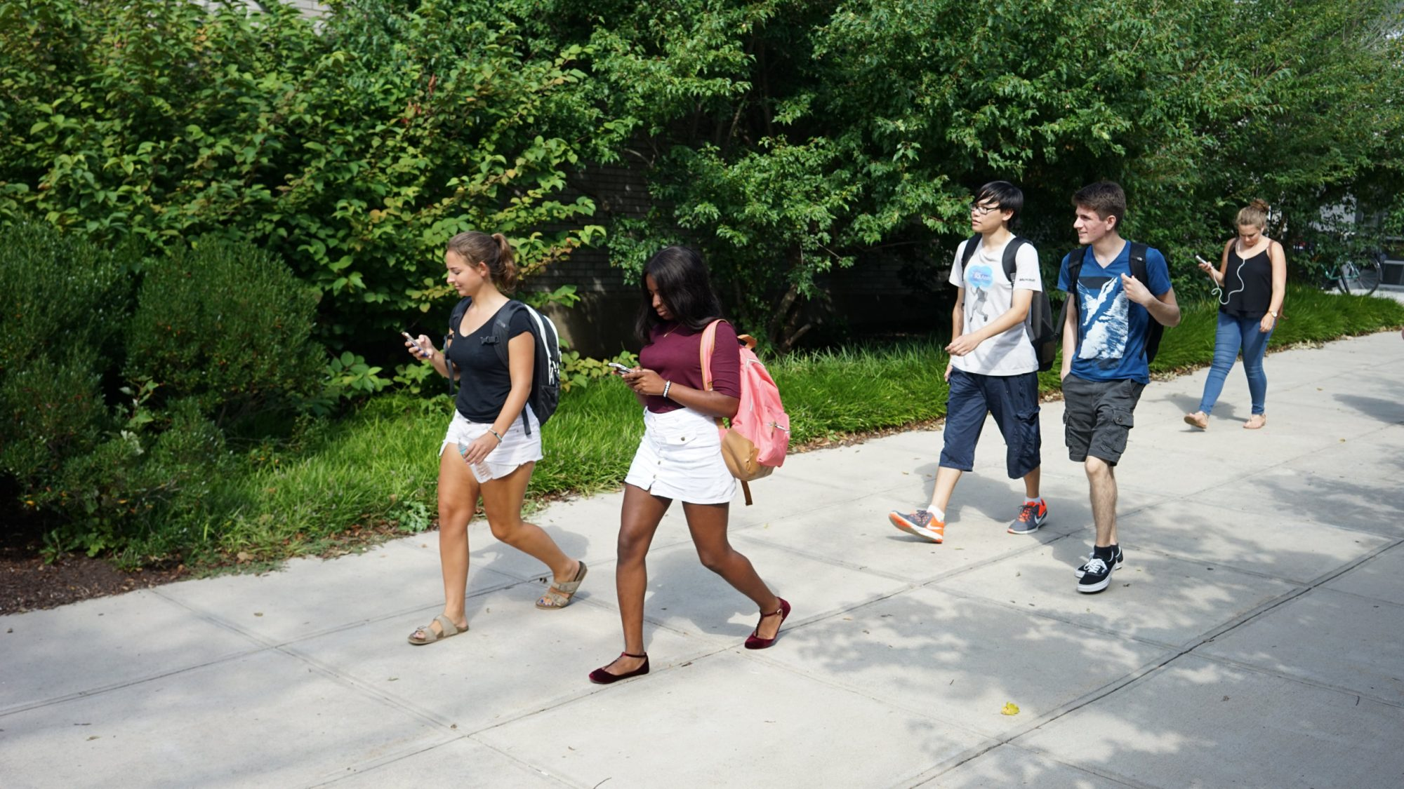 Students walk on campus while looking at their phones