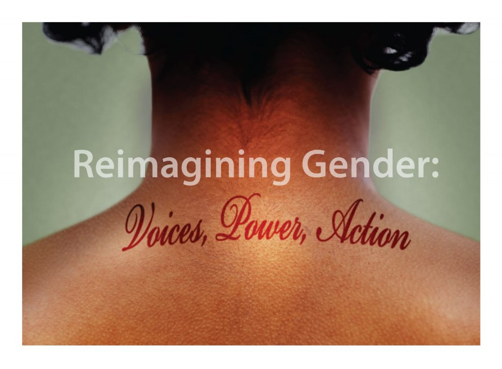 Colloquium logo featuring the back of a person's next with the words Reimagining Gender