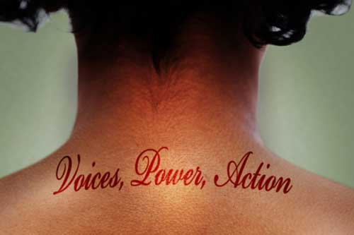 Reimagining Gender logo featuring back of a person's neck with the words voices power action