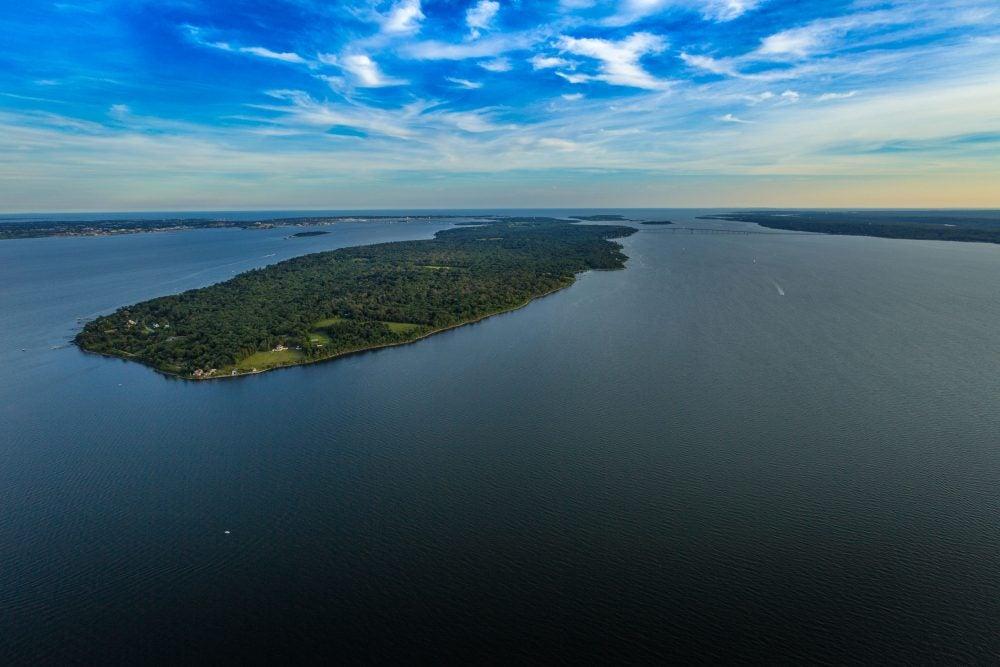 Narragansett Bay opening into the Atlantic Ocean